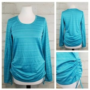 Danskin M Teal Long Sleeve Ruched Athletic Top